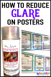 Spray laminated posters with clear matte spray paint to reduce glare on posters.