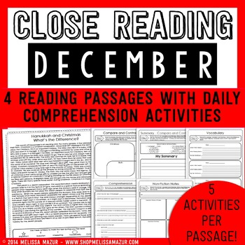 December Close Reading Christmas Hanukkah Reading Passages Learning Lab Resources